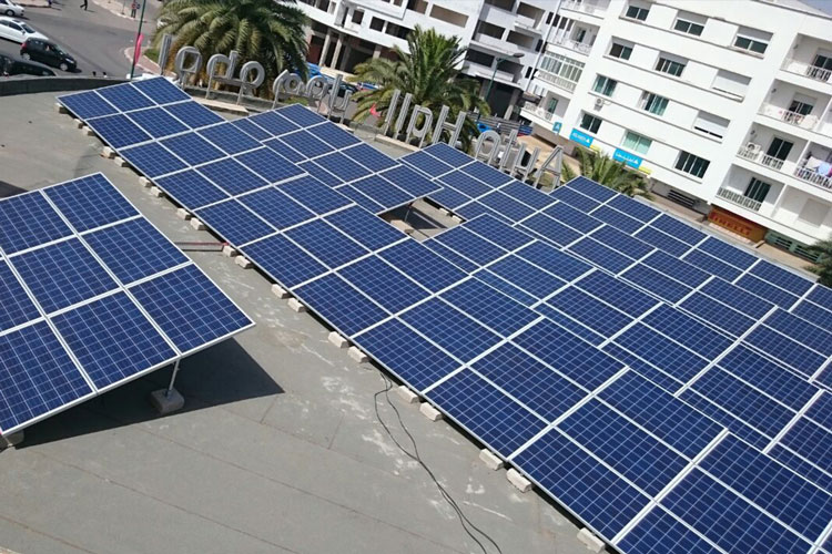 6 kWc solar photovoltaic power systems installed to the rooftop of the AUTOHALL showroom at Rabat.