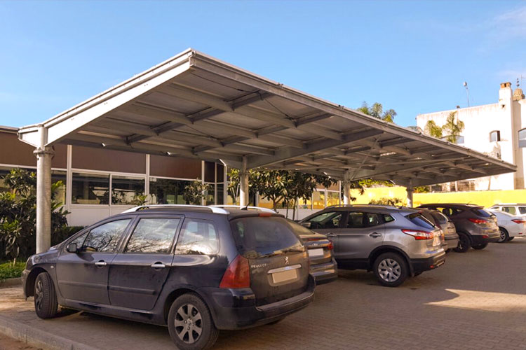 11kWc Shade structure solar power system provides shade and clean energy for the ENS Rabat.