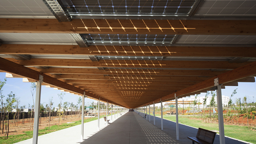 Solar aisle of the International University of Rabat - Morocco
