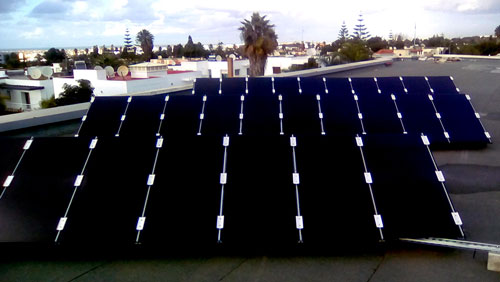5 kWc Rooftop solar power systems installed to the rooftop of the CESE at Rabat. Cadmium telluride photovoltaic modules were used for this project.